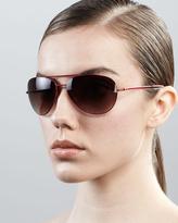 Diane von Furstenberg Hilary Aviator Sunglasses, Red