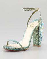 Au Palace Spike-Heel Snakeskin Sandal
