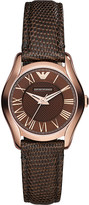 Emporio Armani AR1714 rose gold-plated and leather watch