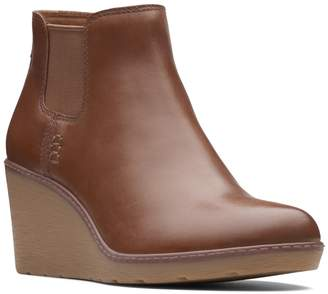 Clarks Hazen Flora Leather Wedge Bootie
