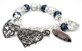 Beautiful Silver Jewelry Ornate Heart Beaded Stretch Bangle Charm Bracelet in Gift Box
