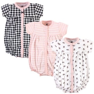 Hudson Baby Girl Button Up Cotton Rompers, 3-Pack