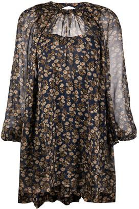 No.21 Floral-Print Short Dress