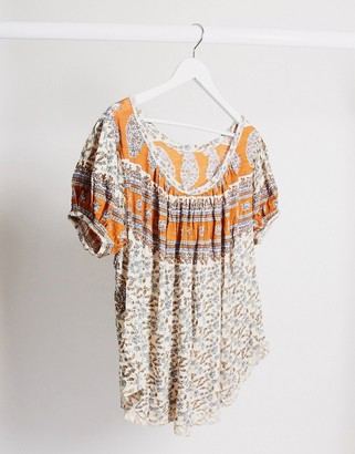 Free People Paisley jersey t-shirt in cream multi