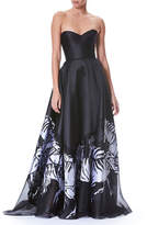 Carolina Herrera Strapless Belted Bustier Zebra-Print Evening Gown