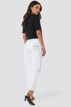 Faces I Don't Know X NA-KD Pocket Embroidered Jeans White