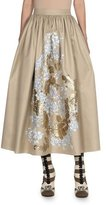 Fendi Floral Gathered-Waist Midi Skirt, Multi/Gold/Blue