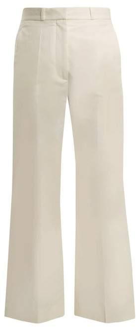 Stella McCartney High Rise Straight Leg Twill Trousers - Womens - Cream