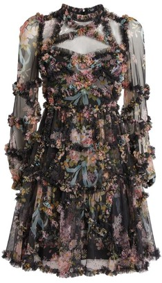 Needle & Thread Floral Ruffle Mini Dress
