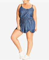 City Chic Trendy Plus Size Cotton Chambray Romper