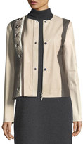 Lafayette 148 New York Bridgin Colorblocked Leather Jacket