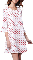 Yumi Ditsy Floral Flared Sleeve Shift Dress, White