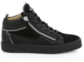 Giuseppe Zanotti Suede Mid Top Double Zip Sneakers