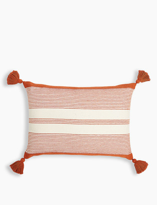 Marks and Spencer Cotton Striped Embroidered Cushion