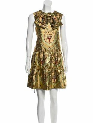Gucci Jacquard Mini Dress w/ Tags Gold