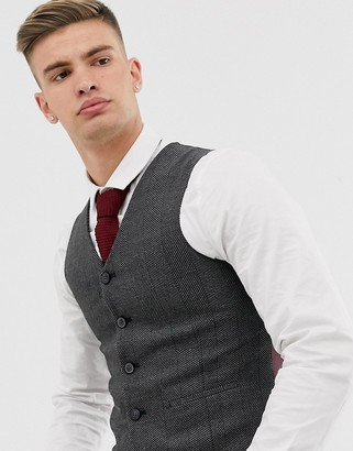 ASOS DESIGN wedding super skinny suit suit vest in charcoal herringbone