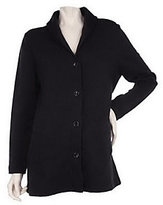 As Is Denim & Co. Lng Sleeve Button Front Shawl Collar Knit Jacket