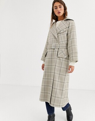 Topshop trench coat in check-Multi