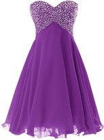 Drasawee Short Chiffon Ball Gown Junior Prom Bridesmaid Homecoming Party Dress