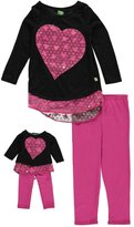 "Dollie & Me Little Girls' ""Confetti Hearts"" 2-Piece Outfit with Doll Outfit"