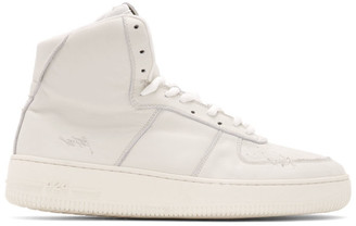 424 White Distressed High-Top Sneakers