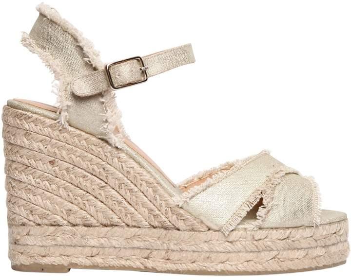 Castaner 100mm Metallic Canvas Wedge Sandals