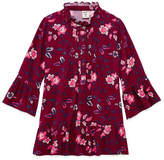 Arizona 3/4 Sleeve High Neck Print Top - Girls' 7-16 & Plus