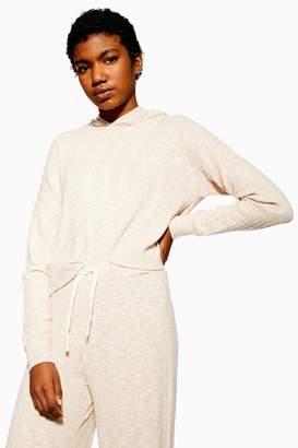 Topshop Womens Soft Ribbed Lounge Hoodie - Oatmeal