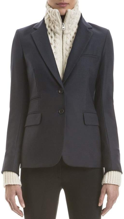 Veronica Beard Navy Classic Jacket With Ivory Knit Upstate Dickey