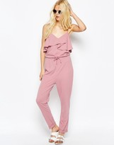 Asos Jersey Jumpsuit with Peg Leg and Ruffle Detail