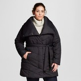 Women's Plus Size Belted Puffer Jacket Black - Ava & Viv