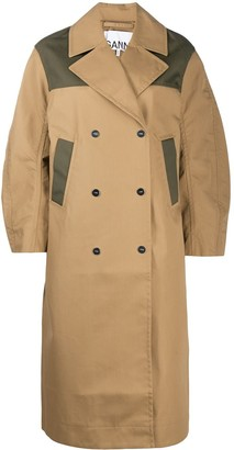 Ganni Colour-Block Oversized Trench Coat