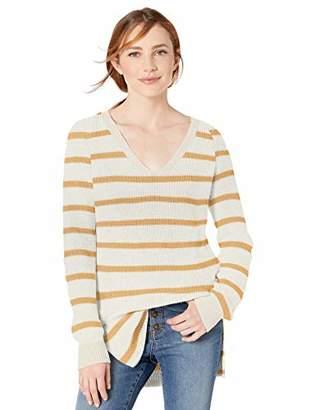 Goodthreads Cotton Half-Cardigan Stitch Deep V-Neck Sweater Pullover,XS
