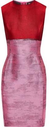 Oscar de la Renta Two-tone Satin-jacquard Mini Dress