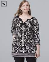White House Black Market Plus 3/4-Sleeve Printed Tunic