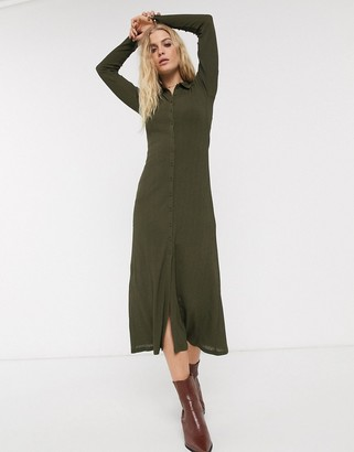 Topshop ribbed midi cardigan style dress in khaki