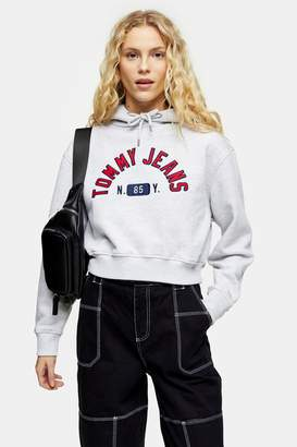 Tommy Hilfiger Womens Grey Logo Hoodie By Tommy Jeans - Grey