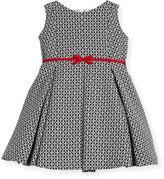 Helena Geometric Print Dress w/ Red Trim, Size 2-6