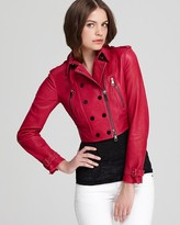 Burberry Jacket - Fuchsia Leather Double Breasted Crop