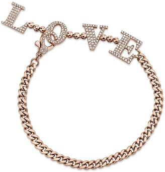 Shay 18kt rose gold baby link Love Drop diamond bracelet