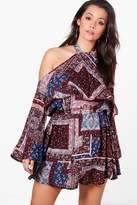 boohoo Plus Janey Paisley Print Halter Tie Woven Dress multi