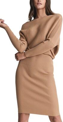 Reiss Lara Mix Ribbed Long Sleeve Sweater Dress