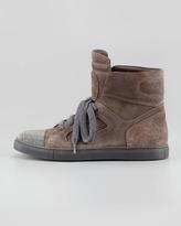Brunello Cucinelli Suede Beaded-Toe High-Top Sneaker