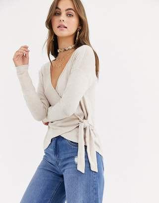 Abercrombie & Fitch cosy off the shoulder top in oatmeal-Cream