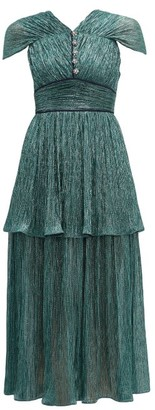 Peter Pilotto Tiered Plisse-lame Midi Dress - Womens - Green