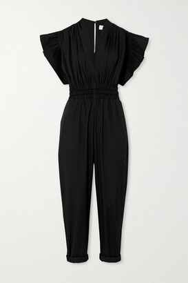 IRO Pleona Ruffled Cotton-poplin Jumpsuit - Black