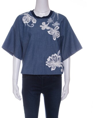 3.1 Phillip Lim Indigo Floral Embroidered Chambray Box T- Shirt S