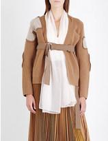 Sacai Chiffon detail belted wool cardigan
