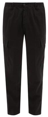 White Sand - Elasticated-waist Cotton-blend Cargo Trousers - Black