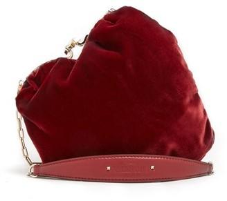 Valentino Carry Secrets Heart-shaped Velvet Bag - Burgundy Multi